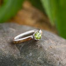 peridot engagement rings peridot engagement ring with diamond lotus and black ash burl