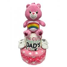 2 tier diaper cake u2013 dad u0027s lucky care bear baby gift hamper