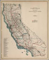 map showing state highway system california 1932 david