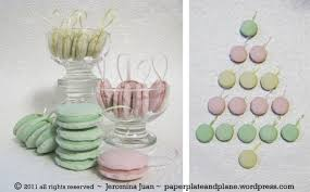plaster macaron ornaments paper plate and plane