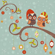 cute winter christmas card of owls in hats sitting on a tree
