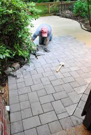 Cutting Patio Pavers How To Lay A Paver Patio Gravel Sand And Stones House