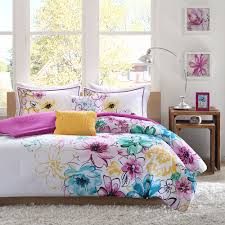Teen Comforter Set Full Queen by Reversible Soft Modern Chic Pink Purple Teal Blue Yellow