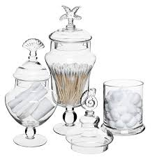 Clear Glass Kitchen Canisters Amazon Com Set Of 3 Seashell Handle Clear Glass Apothecary Jars