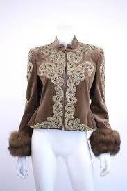 bill blass velvet beaded jacket with sable fur cuffs