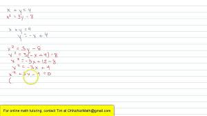 solving a system of quadratic equations by substitution