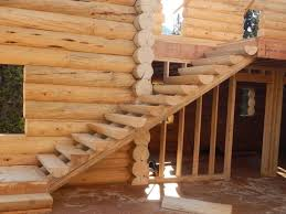 log stair set