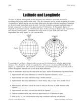 latitude and longitude geography printable 5th 8th grade