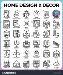 home design decor concept detailed line stock vector 630695624 home design and decor concept detailed line icons set in modern line icon style concept for