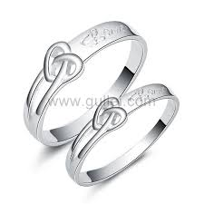 couples ring sets engravable sterling silver engagement knot ring set