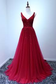 luxurious red long beading a line prom dress v neck halter