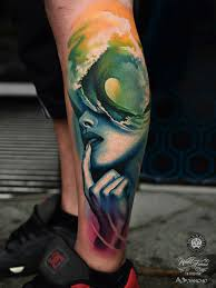 portrait u0026 wave abstract leg best tattoo design ideas