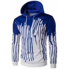 blue splatter print pullover hoodie 2xl 11 82 online shopping