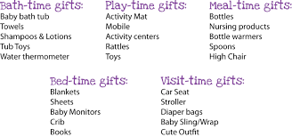 baby gift registry list s lunch time of day baby shower