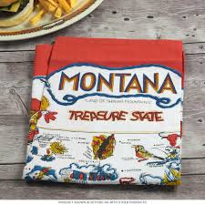 Montana State Map by Montana State Map Vintage Tea Towel Souvenir Towels