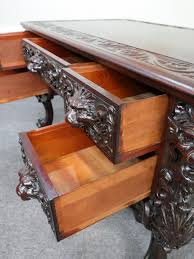 rj horner carved mahogany griffin partners desk from