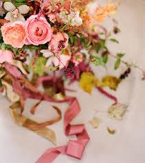 fall wedding bouquet wild garden roses orchids mauve berry peach