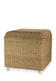 Seagrass Storage Ottoman Household Essentials Seagrass Rolling Wicker Storage Ottoman Belk