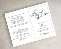 booklet wedding programs simple plain black and white script name bi fold wedding