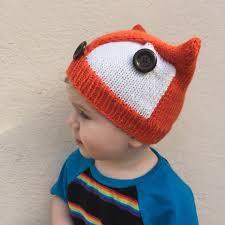 baby fox knit hat wool winter beanie kids fox halloween