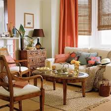 Orange Curtains For Living Room Living Room With Orange Curtain And Cream Sofa Decorate Your