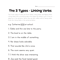 linking verb worksheets all kids network