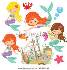 pretty mermaid vector cartoon illustration stock vector 495784906