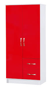 White Bedroom Wardrobes Uk Red U0026amp White Combi Wardrobe 2 Door 2 Drawer Marina High Gloss