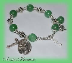st jude bracelet st jude rosary bracelet green jasper bracelet