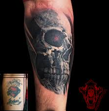 painterly skull coverup by brenna mclaughlin tattoonow