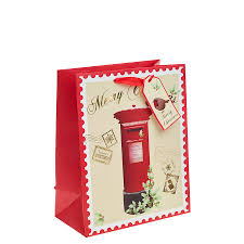 red post box christmas gift bag u2013 large x 1pc my carrier bag for