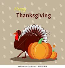thanksgiving greeting design cheerful turkey stock vector