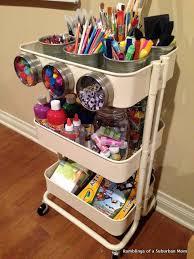 ikea raskog utility cart ideas to organize kids art and craft supplies using the ikea