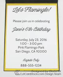 Standard Invitation Card Sizes Scraps Of Life Cas Flamingo Invitation Card