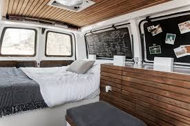 volkswagen van interior ideas tour a chevy van turned into sleek tiny live work space curbed