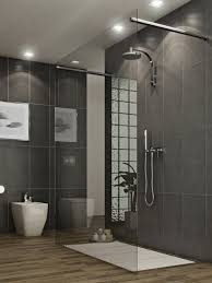 Laminate Floor On Ceiling Shower Cabin With Glass Walls Without Frame With Handle Door Also