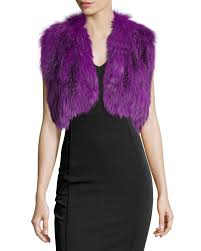 adrienne landau cropped fox fur vest in purple lyst
