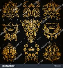 set gold damask ornaments floral elements stock vector 310104395