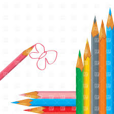 colorful pencils and simple drawing of butterfly vector image