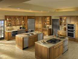 luxury kitchen style design with oak double kitchen islands