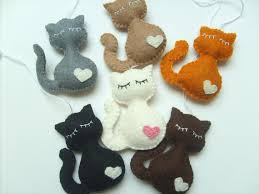 felt cat ornament handmande ornaments by grabacoffee