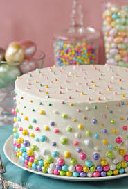 Easter Cake Decorating Games by Easter Polka Dot Cake Embellished With Sixlets And Candy Pearls