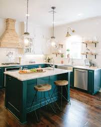 blue kitchen island with oak cabinets 14 colorful kitchen island ideas the turquoise home