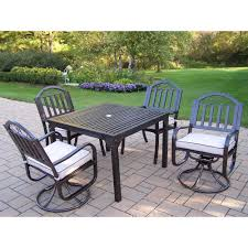 Swivel Patio Dining Chairs Oakland Living Rochester 5 Piece Swivel Patio Dining Set With