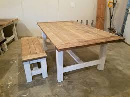 farmhouse table and bench white base with special walnut and