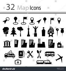 set 32 map icons vector stock vector 131479358 shutterstock
