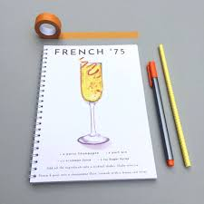 french 75 french 75 watercolour cocktail notebook by bold u0026 bright