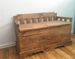 Wood Bench With Storage Toy Chest Etsy
