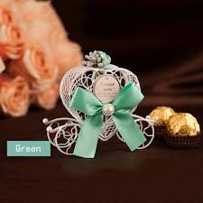 Wedding Program Fans Cheap 5pcs Cinderella Carriage Wedding Favor Chocolate Candy Box Hollow