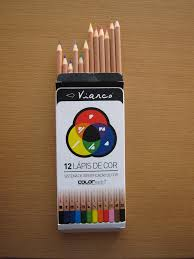 Writing System For The Blind Box Of 12 Color Pencils With An Identifying Color System For